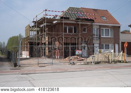 Sint Gillis Waas, Belgium, April 21, 2021, Semi-detached Building Will Be Completely Renovated