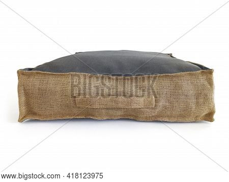 Front View Of Square Cotton Sitting Cushion With Natural Materials On White Background. Chillout Flo