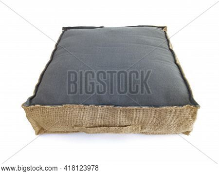 Aerial View Of Square Cotton Sitting Cushion With Natural Materials On White Background. Chillout Fl