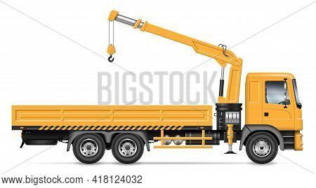 Crane Truck Vector Illustration View From Side Isolated On White Background. Construction And Loadin