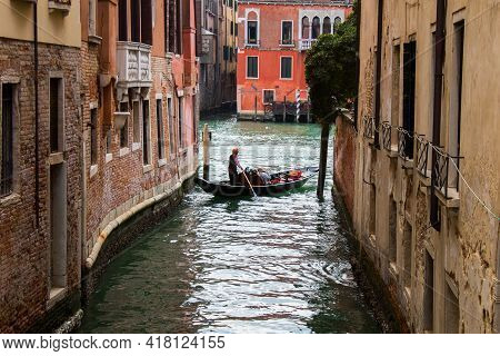 The First Woman Gondolier In Grand-canal. Venice, Italy.