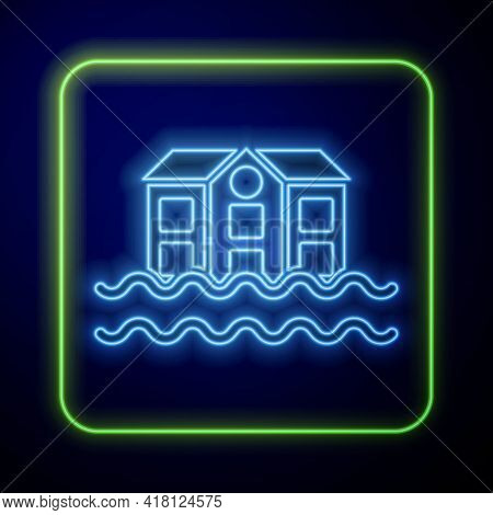 Glowing Neon House Flood Icon Isolated On Blue Background. Home Flooding Under Water. Insurance Conc