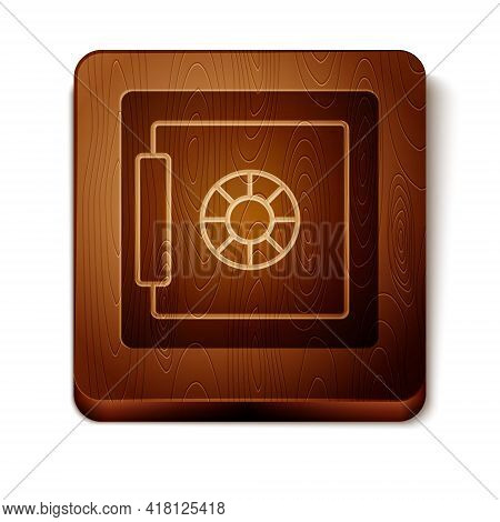 Brown Safe Icon Isolated On White Background. The Door Safe A Bank Vault With A Combination Lock. Re