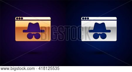 Gold And Silver Browser Incognito Window Icon Isolated On Black Background. Vector