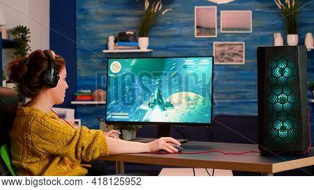 Streamer Sport Gamer Playing Game With Rgb Keyboard