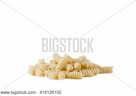 Type Of Italian Pasta: Fusilli. Fusilli On A White Background.