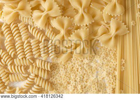 Types Of Italian Pasta: Fusilli, Farfalle, Fettuccine, Spaghetti, Stars.