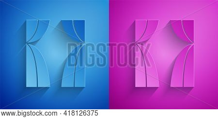 Paper Cut Circus Curtain Raises Icon Isolated On Blue And Purple Background. For Theater Or Opera Sc