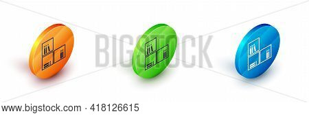 Isometric Shelf With Books Icon Isolated On White Background. Shelves Sign. Circle Button. Vector