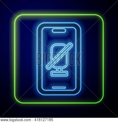 Glowing Neon Mute Microphone On Mobile Phone Icon Isolated On Blue Background. Microphone Audio Mute