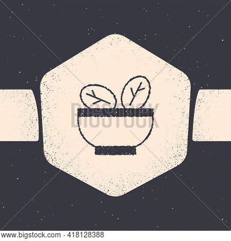 Grunge Salad In Bowl Icon Isolated On Grey Background. Fresh Vegetable Salad. Healthy Eating. Monoch