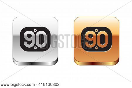 Black 90s Retro Icon Isolated On White Background. Nineties Poster. Silver And Gold Square Buttons.