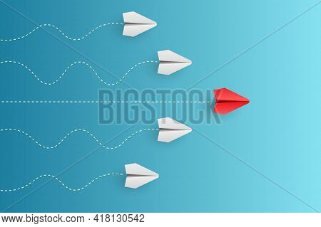 Individual Red Leader Paper Plane Lead Other. Business And Leadership Concept. Vector Illustration