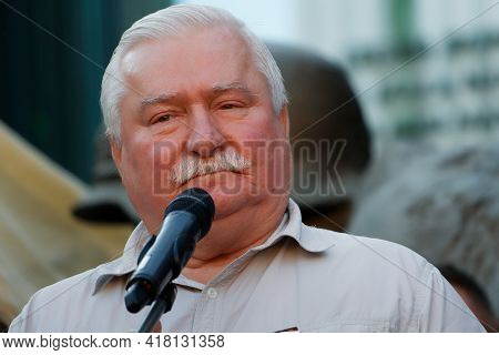 Warsaw/poland - July 4, 2018: Lech Walesa, Former Leader Of Solidarnosc,  And President Of Poland Sp