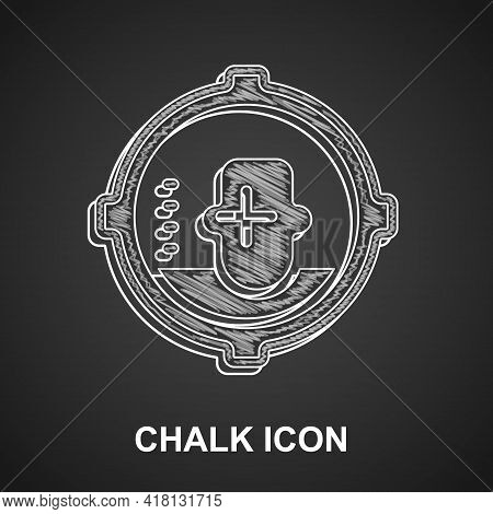 Chalk Headshot Icon Isolated On Black Background. Sniper And Marksman Is Shooting On The Head Of Man