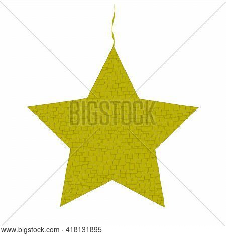 Star Pinata Illustration Isolated On White Background. Mexican Party Game, Decoration