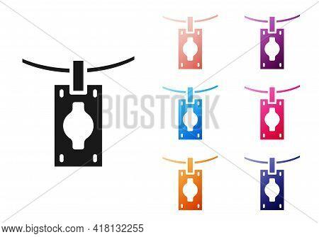 Black Money Laundering Icon Isolated On White Background. Money Crime Concept. Set Icons Colorful. V