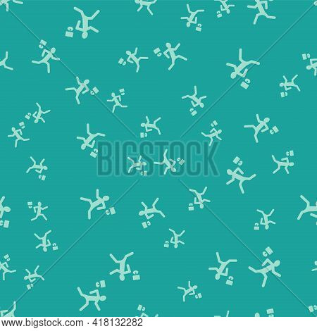 Green Murder Icon Isolated Seamless Pattern On Green Background. Body, Bleeding, Corpse, Bleeding Ic