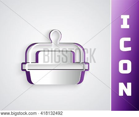 Paper Cut Butter In A Butter Dish Icon Isolated On Grey Background. Butter Brick On Plate. Milk Base