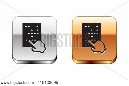 Black Braille Icon Isolated On White Background. Finger Drives On Points. Writing Signs System For B