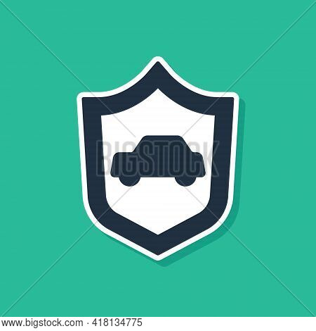 Blue Car With Shield Icon Isolated On Green Background. Insurance Concept. Security, Safety, Protect