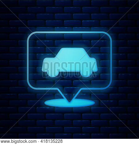Glowing Neon Car Service Icon Isolated On Brick Wall Background. Auto Mechanic Service. Repair Servi