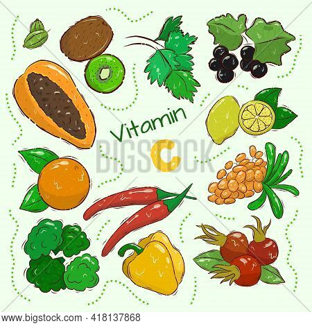 A Collection Of Sources Of Vitamin C. Fruits And Vegetables Are Enriched With Ascorbic Acid. Dietary