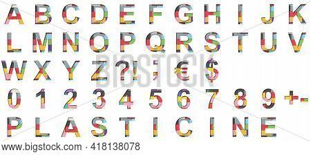 Multi-colored Plasticine Font. Alphabet Letters Abcdefghijklmnopqrstuvwxyz And Digits 1234567890 Set