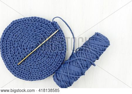 Crocheted Circle For Napkin, Basket, Bag, Polyester Cord, Handmade, Hobby, Home Production. Hobby Co