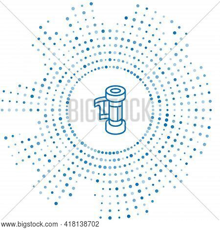 Blue Line Camera Vintage Film Roll Cartridge Icon Isolated On White Background. 35mm Film Canister.