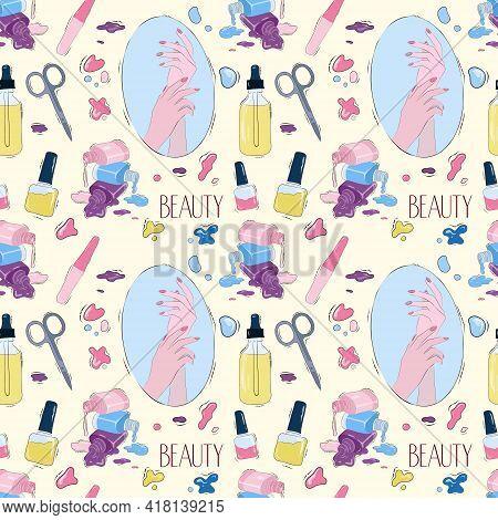 Vector Seamless Pattern Of A Beauty Salon. Pattern. Stock Illustration. Nail Salon.