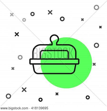 Black Line Butter In A Butter Dish Icon Isolated On White Background. Butter Brick On Plate. Milk Ba