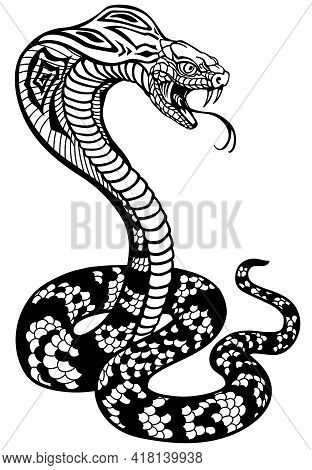Cobra Poisonous Snake In A Defensive Position. Attacking Posture. Black And White Tattoo Style Vecto