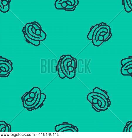 Blue Line Hearing Aid Icon Isolated Seamless Pattern On Green Background. Hearing And Ear. Vector