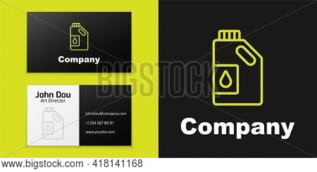 Logotype Line Canister For Motor Machine Oil Icon Isolated On Black Background. Oil Gallon. Oil Chan