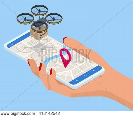 Isometric Drone Delivery, Logistics And Delivery Concept. Delivery Home And Office. Tracking Deliver