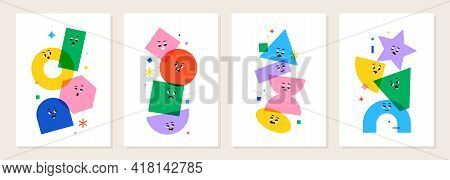 Cute Cartoon Geometric Figures With Different Face Emotions, Funny Poster Idea For Kids. Colorful Ch