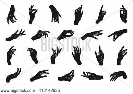 Set Of Various Black Silhouette Woman Hands. Vector Collection Of Female Hands Of Different Gestures