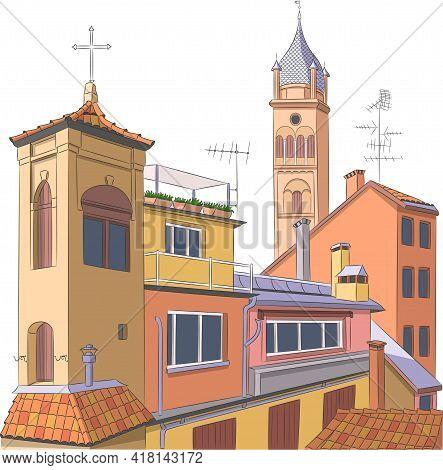 Aerial View Of The Historic Part Of Bologna.