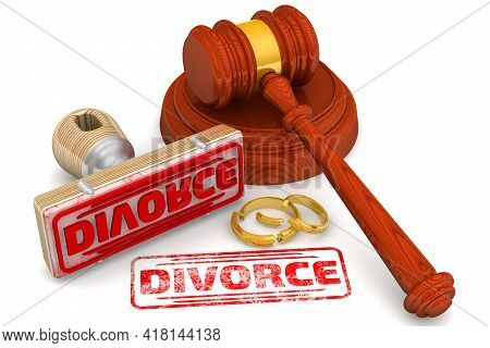 Divorce. The Stamp And An Imprint. Wooden Stamp And Red Imprint Divorce With Judge's Hammer And Brok