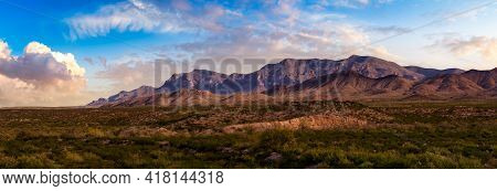 Panoramic American Landscape. Colorful Sunset Sky Art Render. Taken North Of El Paso, New Mexico, Un
