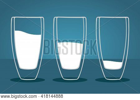 Milk. Three Milk Glasses Are Filled Differently From Larges To Tsmallest. White Liquid In Cups. Thre