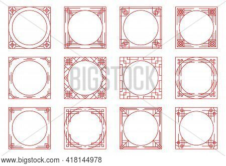 Various Vector Chinese Frame Set. Traditional Asian Decorative Pattern. Oriental Japanese Ornament E