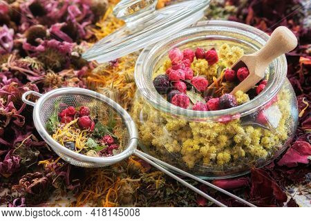 Glass Jar Of Medicinal Plants - Helichrysum, Wild Marjoram, Red And Black Currant Berries, Tea Infus