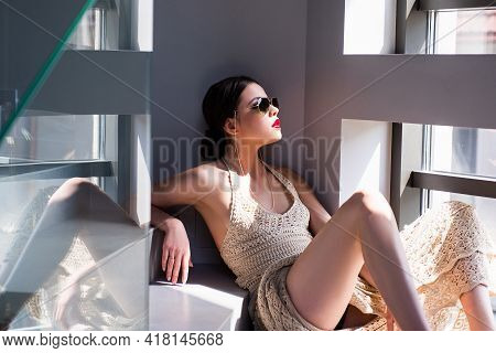 Female Sunglasses Vogue. Beautiful Young Woman Posing. Sensual Model Girl With Makeup.