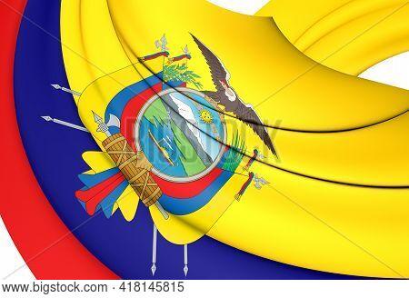 3d Flag Of Ecuador. 3d Illustration. Front View.