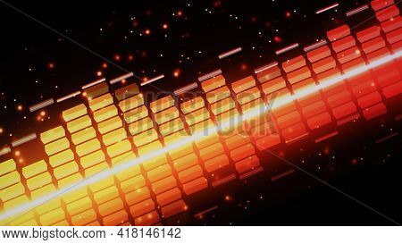 Music Equalizer Bar. Audio Waveform Equalizer On Screen Black Background.