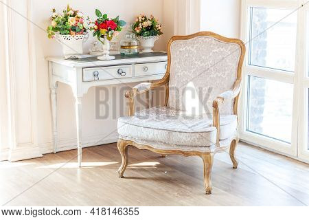 Beautiful Luxury Classic White Bright Clean Interior Bedroom In Baroque Style With Large Window, Arm