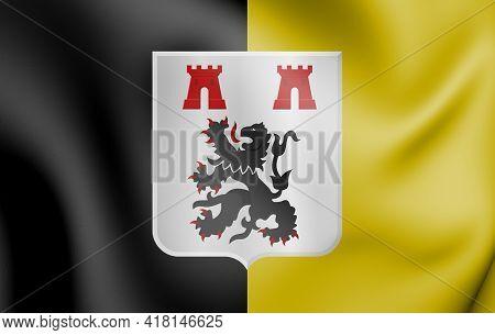 3d Flag Of Jodoigne (walloon Brabant Province), Belgium. 3d Illustration.