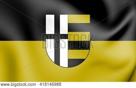 3d Flag Of Korschenbroich (north Rhine-westphalia), Germany. 3d Illustration.